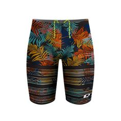 Azure Tropics Jammer. Don't have the funds for a tropical get-a-way? We've got you covered. Our Azure Tropics print takes you away to a tropical island where 5am practice doesn't exist. #qswimwear #swimsuit