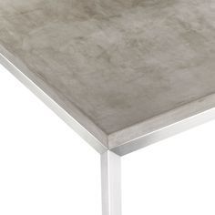 Concrete Top/ Stainless Steel Base Parsons Dining Tables  | Crate and Barrel
