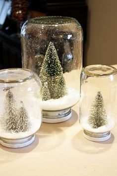 Waterless Snow Globes are super simple to make and beautiful on display (Sweet Something Designs)