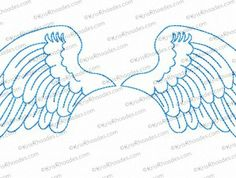 Angel Wings Outlined Embroidery Design