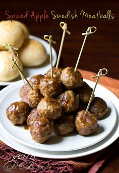 Spiced Apple Swedish Meatballs -- Made these for Thanksgiving appetizers and they were a huge hit! I made a double batch of the sauce and poured it over the cooked meatballs in the crock pot--worked great!