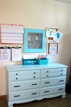I love this command center in her laundry room - VERY organized!!