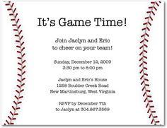 Baseball Party Invite