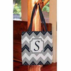 Thumbprintz - Chevron Monogram Tote Bag, Women's, Size: 13 inch x 13 inch, Blue