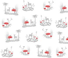 Woodland Moments White fabric by smuk on Spoonflower - custom fabric BABY QUILT