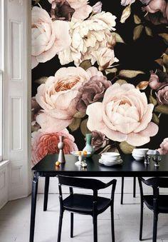 Oh Wow, Was Für Ein Opulentes Blütenmuster! Rosentapete Mit Großem Rapport  Für Eine Elegante