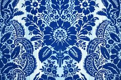 1970's Vintage Wallpaper Royal Blue Flocked by kitschykoocollage, $18.00