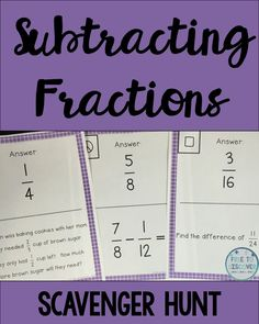 "Get students out of their seats and subtracting fractions with this interactive scavenger hunt. Students will practice subtracting fractions with unlike denominators. Students will be given straight forward subtraction practice, verbal forms involving the key word ""difference,"" and word problems. All fractions are less than one. All answers on the scavenger hunt are written in simplest form. There are 12 practice problems included in the activity.  By Free to Discover."