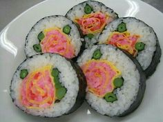 Roses, flowers, onigiri, rice balls; Anime Food