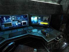 Sanctuary Computer Workstation, UI, desk, cyber tech