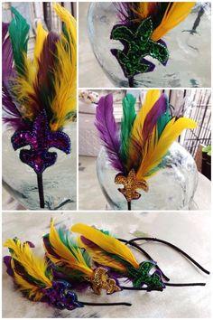Fleurty Girl - Everything New Orleans - Mardi Gras Feather Headband - Footwear & Accessories