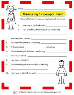 FUN MATH ACTIVITY~ This free printable send you students on a Measuring Scavenger Hunt!