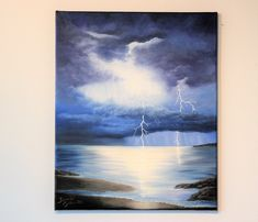 Oil painting on stretched canvas, handpainted seascape by Jannicreate on Etsy Close To Home, Stretched Canvas, Mystery, Tapestry, Hand Painted, Sky, Painting, Hanging Tapestry, Heaven