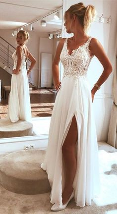 V Neck Split Side Long Wedding Dresses Bridal Gowns with Appliques - - V Neck Split Side Long Wedding Dresses Bridal Gowns with Appliques Mrs.oneal V Neck Split Side Long Wedding Dresses Bridal Gowns with Appliques – NYDress Long Wedding Dresses, Bridal Dresses, Wedding Gowns, Wedding Rings, Modest Wedding, Wedding White, Outdoor Wedding Dress, Empire Wedding Dresses, Lace Wedding