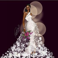 It's been awhile since I did a bridal illustration. Black Girl Art, Black Women Art, Black Girl Magic, Black Art Pictures, Black Artwork, Afro Art, African American Art, Black Is Beautiful, Fashion Sketches