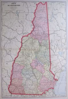 1904 Vintage MAP of NEW HAMPSHIRE Map State Map Beautiful Large Size #2127
