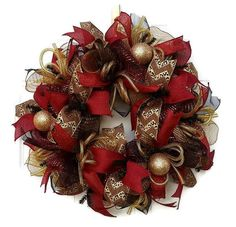 Deco Mesh Christmas Wreath, Christmas Wreaths for Front Door, Christmas Deco Mesh Wreath, Gold Wreath, Indoor Christmas Wreath, Mantle Wreath for $68.00 by Kayla's Kreations at www.kaylaskreationstx.etsy.com