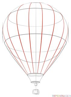 How to draw a Hot Air Balloon step by step. Drawing tutorials for kids and beginners.