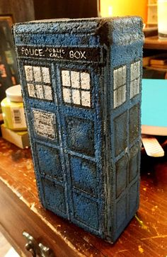 Dr. Who TARDIS Upcycled Brick Bookend by RevolutionDesign6 on Etsy