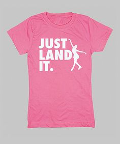 Take a look at this Raspberry 'Just Land It' Fitted Tee - Girls by KidTeeZ on #zulily today!