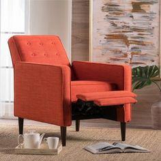 Shop for Mervynn Mid-Century Button Tufted Fabric Recliner Club Chair by Christopher Knight Home. Get free delivery On EVERYTHING* Overstock - Your Online Furniture Shop! Get in rewards with Club O! Small Living Room Chairs, Living Room Orange, Chairs For Small Spaces, New Living Room, Living Room Decor, Small Recliner Chairs, Small Recliners, Modern Recliner, Furniture Deals