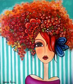 Romina Lerda oh the hair Pintura Graffiti, Art Altéré, Wal Art, Afrique Art, Art Visage, Arte Sketchbook, Art Et Illustration, Arte Pop, Whimsical Art