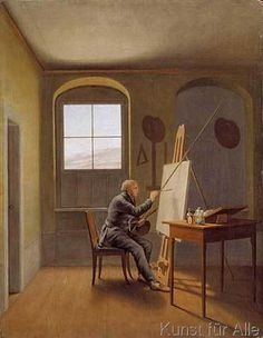 Georg Friedrich Kersting - Caspar David Friedrich in seinem Atelier Franz Xaver Winterhalter, Caspar David Friedrich Paintings, Casper David, Famous Art Paintings, Romantic Paintings, Oil Paintings, Artist Workspace, Mid Century Art, Creepy Art