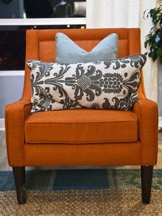 Love it or hate it? These orange chairs and cushions are from One Kings Lane. #hgtvstar.