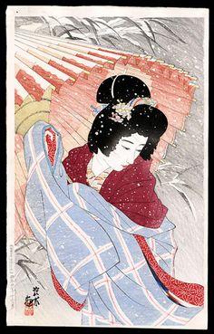ito shinsui | Ito Shinsui: Snowstorm- Blizzard- fubuki- - Japanese Art Open Database