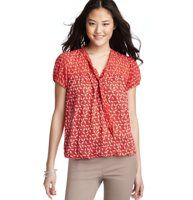 Petite Flocking Bird Print Tie Neck Blouse - We're tongue-tied over the amazing charm of this tie-neck, bubble hem style—the flocking bird print is incredibly cute. Split neck. Short sleeves. Button placket. Gathered at front and back yoke and banded cuffs. Gathered elasticized hem.