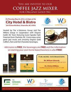 """Host your own Coffee Jazz Mixer """"CJM"""" for Organo Gold!! Join my team that is winning!! www.coffeewinning.organogold.com"""