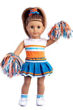 This complete 6 piece cheerleader outfit includes orange and white blouse, turquoise skirt finished with white and orange ribbon, matching pompons, headpiece, socks and shoes.    Cheerleader outfit contains a wide back closure for easy dressing and clothing removal. Our doll clothes fits 18 inch American Girl dolls. Designed in the USA and sold Exclusively by DreamWorld Collections. DOLL(S) NOT INCLUDED U.S. CPSIA CHILDREN'S PRODUCTS SAFETY CERTIFIED