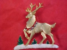 Gorgeous Gold Plate Reindeer -Depicted in Snow Scene Brooch/Pin