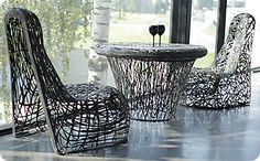 Black Furniture is hand-made in basalt fibre available via Encompass Furniture and Accessories