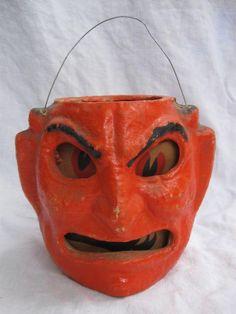 Vintage Halloween Paper Mache Pulp Devil Lantern