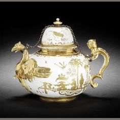 A rare Meissen Hausmaler eagle teapot and cover, circa 1715-25