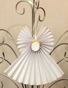 Easy Angel Crafts Accordian Folded Paper Angel Ornament finished white