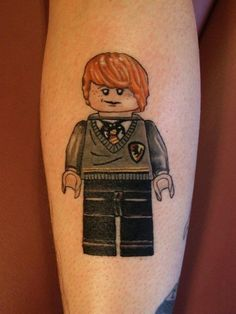 Ron Weasley, Lego-ing hard. | 32 Lego Tattoos That Will Thrill Your Inner Child