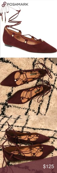 Halogen lace up flats Burgundy lace up flats. In EUC, only wore them twice to dinner. Price is firm. I will not accept offers, trades or messages asking to go lower. Halogen Shoes Flats & Loafers