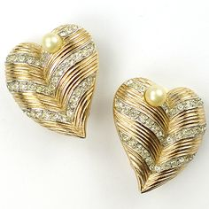 Trifari Gold and Pave Banded Heart with Pearls Clip Earrings