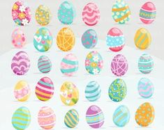 Easter Printables, Party Printables, Pastel Pattern, Planner Supplies, Digital Stamps, Easter Eggs, Easter Bunny, Planner Stickers, Clip Art