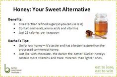 When you need a touch of sweetness, try some raw honey over sugar! A little bit goes a long way making it easy to train your taste buds that a little is enough. For more natural (sugar alternative) sweeteners check out pg. 198 in Eat to Lose, Eat to Win!