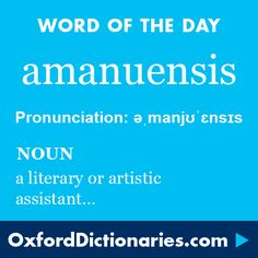 amanuensis (noun): A literary or artistic assistant, in particular one who takes dictation or copies manuscripts. Word of the Day for 1 June 2016. #WOTD #WordoftheDay #amanuensis