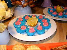 blue & pink deviled eggs