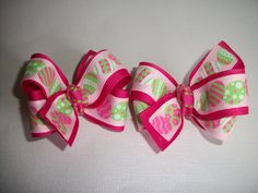 Easter Egg Hair Bows (Item 15-69) by pachwilliamson on Etsy
