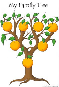 Easy family tree to fill out for smaller children. Orange tree. …