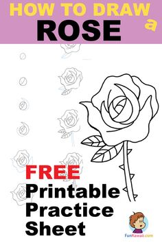 How to draw a rose step by step easy video get free practice sheet and watch . how to draw a rose step by step easy video drawing Drawing Videos For Kids, Drawing Tutorials For Beginners, Easy Drawings For Kids, Cute Drawings, Drawing Ideas, Simple Drawings, Kawaii Drawings, Doodle Drawings, Kids Videos
