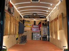 Cargo Trailer Conversion Ideas Shower Shelving Ideas Enclosed Cargo Trailer Camper Conversion - Camper And Travel penitifashion Work Trailer, Trailer Build, Bike Trailer, Utility Trailer, Cargo Trailers, Camper Trailers, Camper Van, Tiny Camper, Equipment Trailers