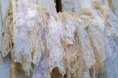 Shabby chic lace fabric garland wall hanging by AnitaSperoDesign