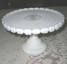 ANTIQUE EAPG ATTERBURY WAFFLE PATTERN RARE CAKE STAND / MILK GLASS PLATE